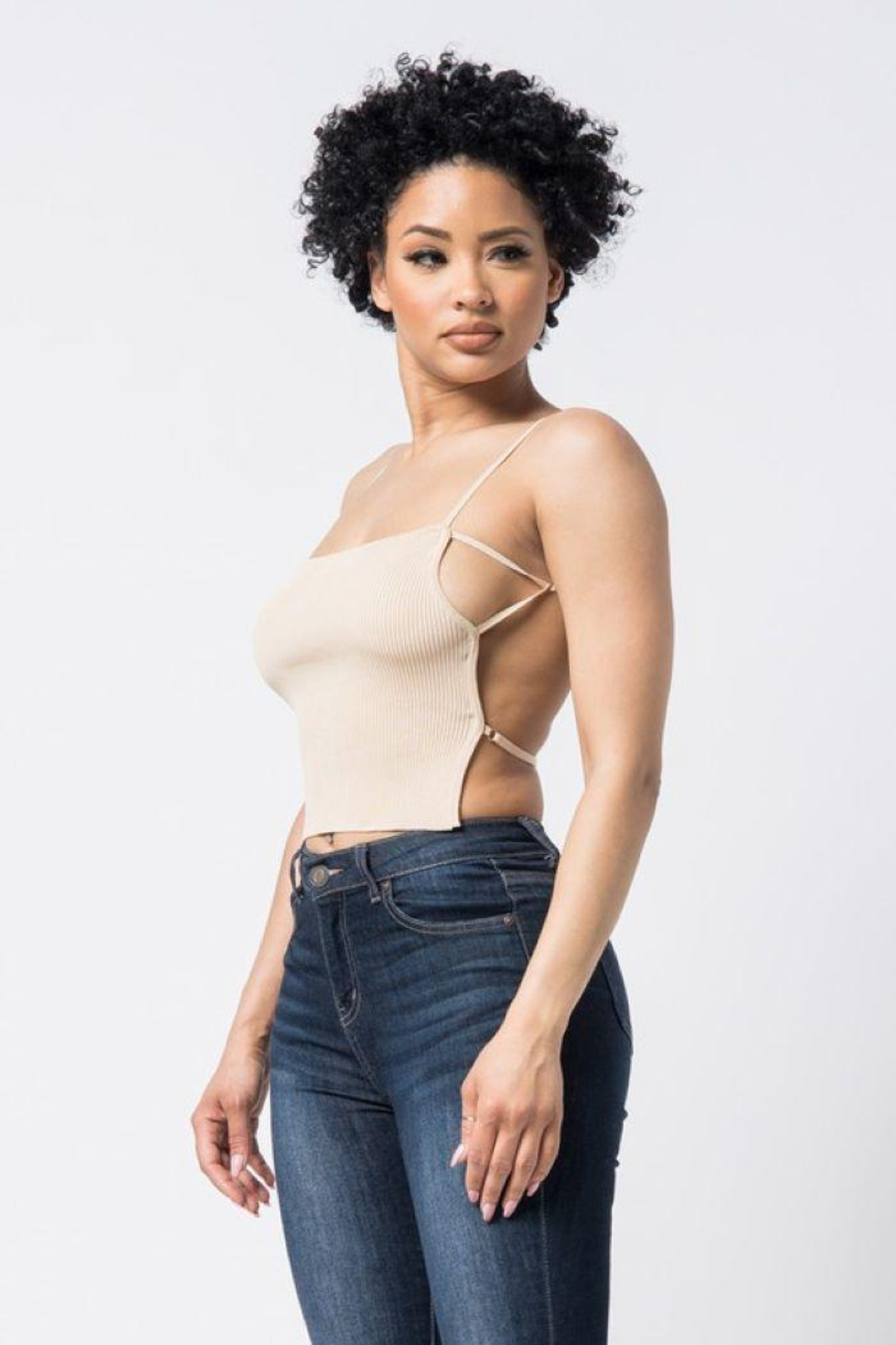 hera collection Open Back Knit Top - Front Cropped Image
