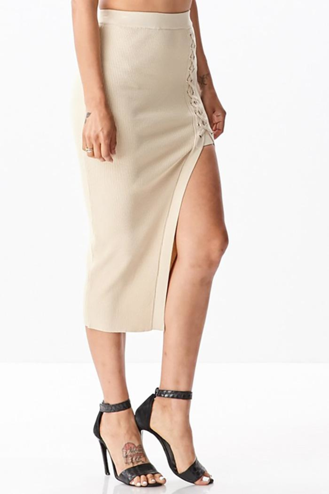 hera collection Side Lattice Midi-Skirt - Side Cropped Image