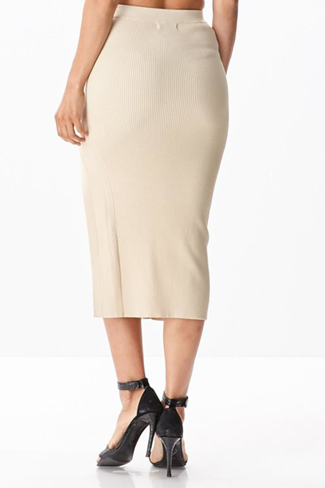 hera collection Side Lattice Midi-Skirt - Back Cropped Image