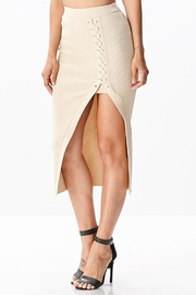 hera collection Side Lattice Midi-Skirt - Front full body