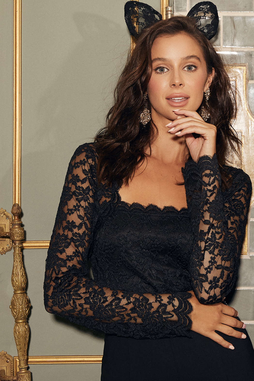 Sugarlips Here To Slay Lace Bodysuit - Front Cropped Image