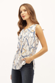 Kay Celine Hermes Print Slvls Top w Leather & Chain Tassel - Product Mini Image