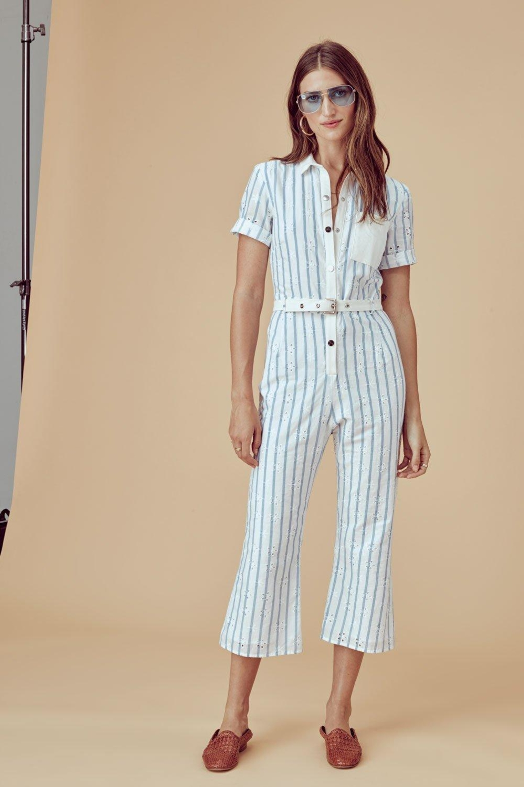 71de92cb4708 FOR LOVE   LEMONS Hermosa Striped-Eyelet Jumpsuit - Front Cropped Image