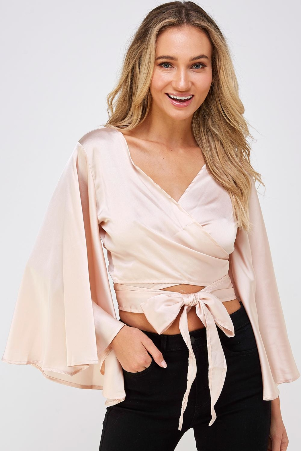 hers and mine Bell Sleeve Blouse - Front Cropped Image
