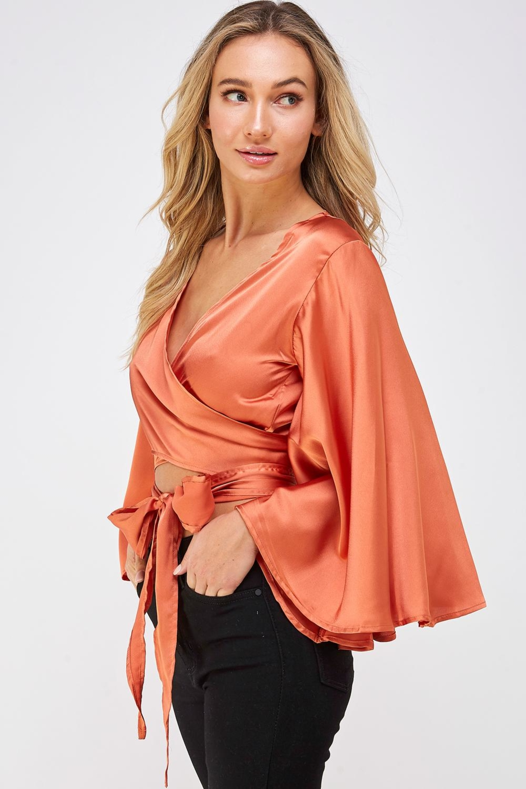 hers and mine Bell Sleeve Blouse - Side Cropped Image