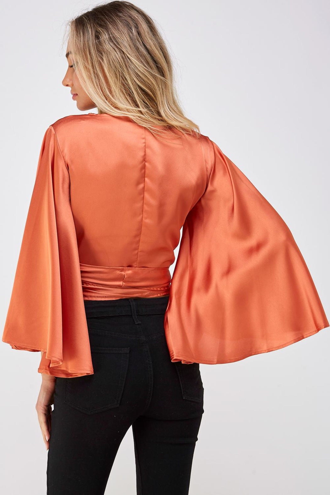 hers and mine Bell Sleeve Blouse - Back Cropped Image