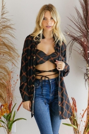 hers and mine Bralette Top With Snap Button Down Shirt - Product Mini Image