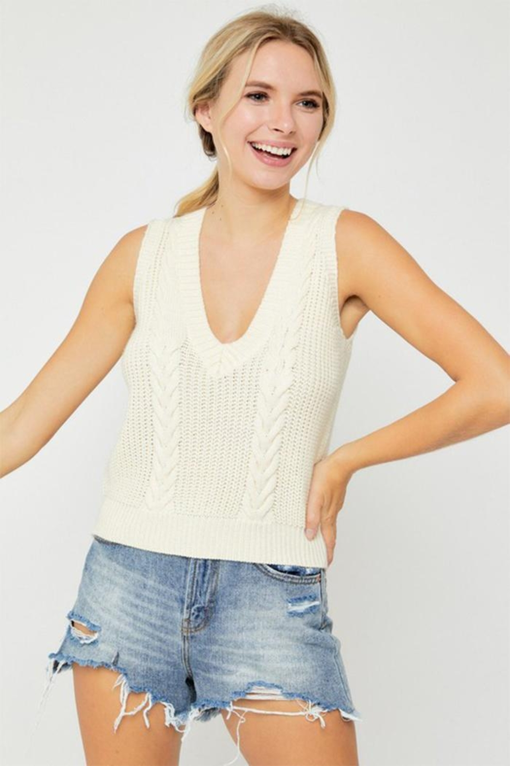 hers and mine Cable Sweater Vest - Main Image