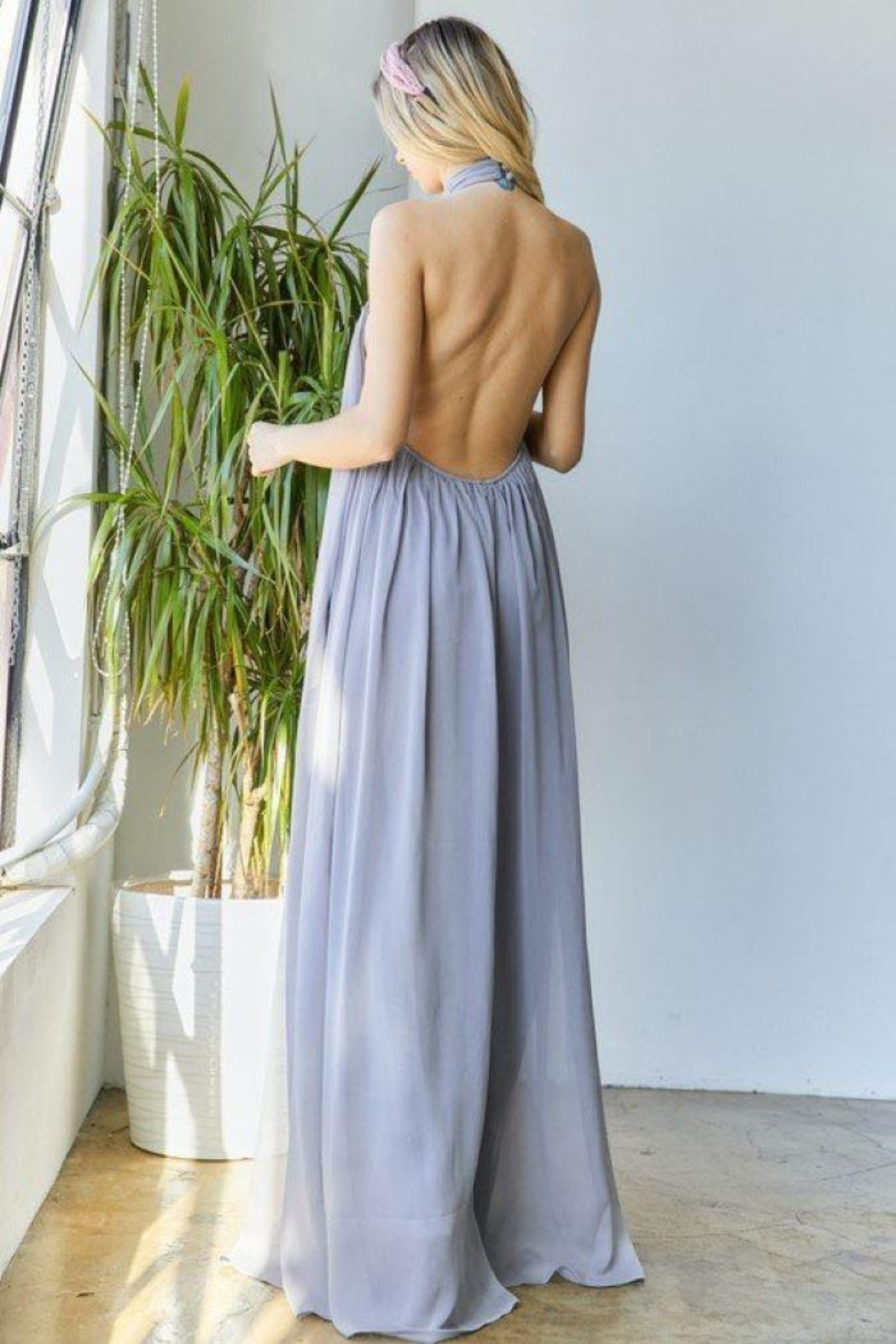 hers and mine Chiffon Halter Wide Leg Jumpsuit - Front Full Image