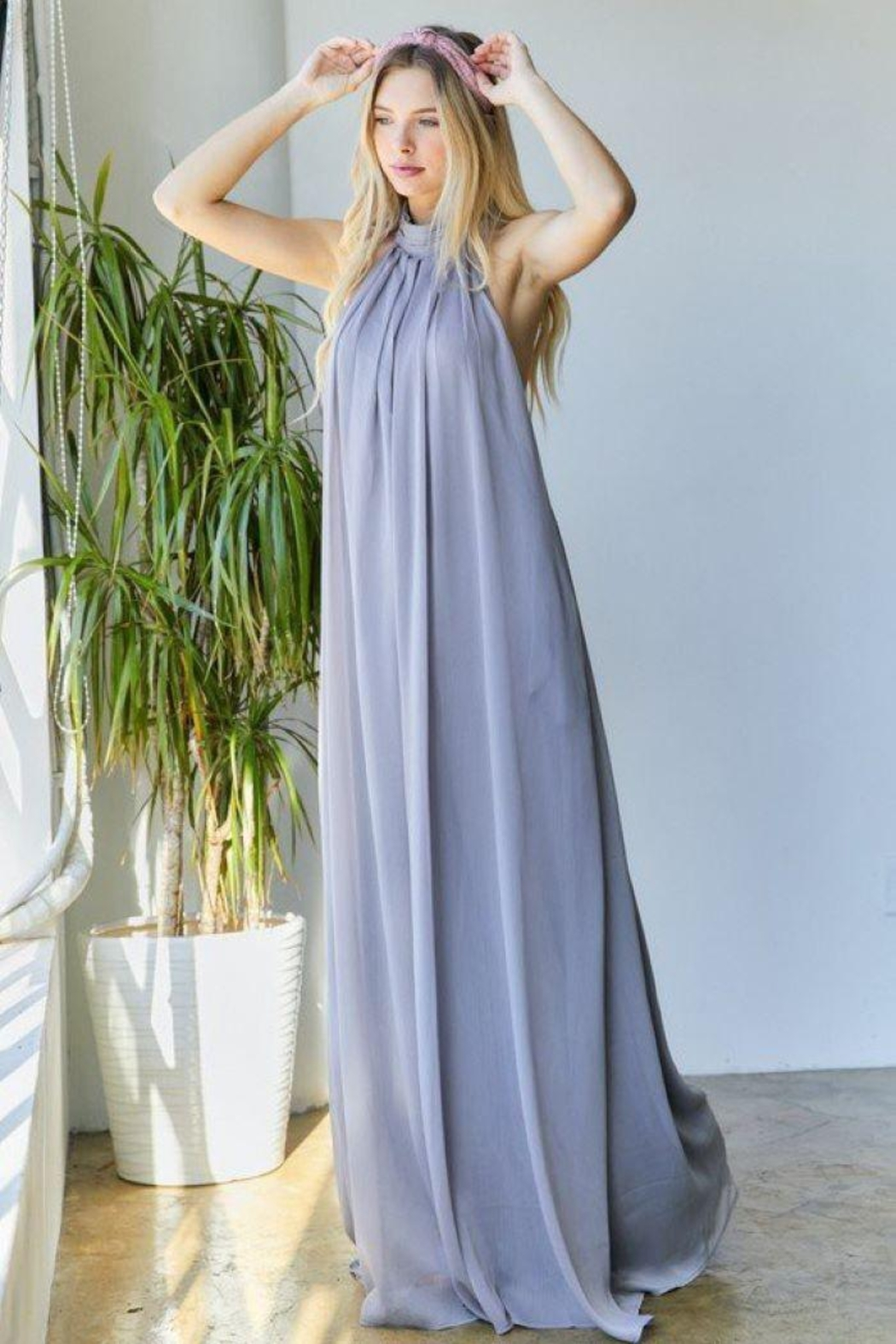 hers and mine Chiffon Halter Wide Leg Jumpsuit - Side Cropped Image