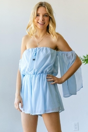 hers and mine Chiffon Slit Sleeves Romper - Back cropped