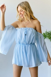 hers and mine Chiffon Slit Sleeves Romper - Front cropped