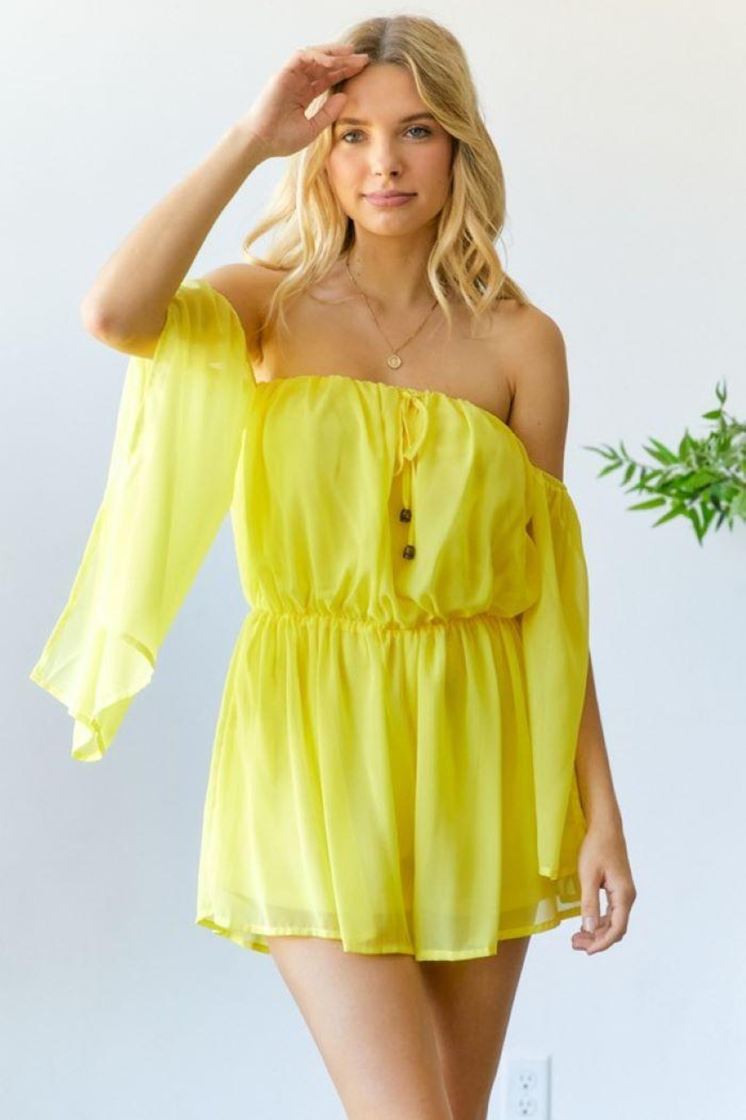 hers and mine Chiffon Slit Sleeves Romper - Back Cropped Image