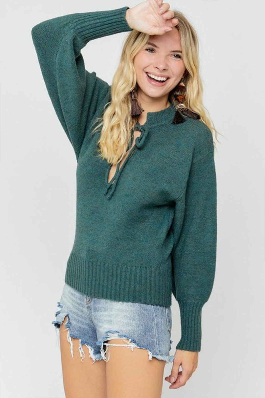 hers and mine Deep V-Neck Sweater - Back Cropped Image