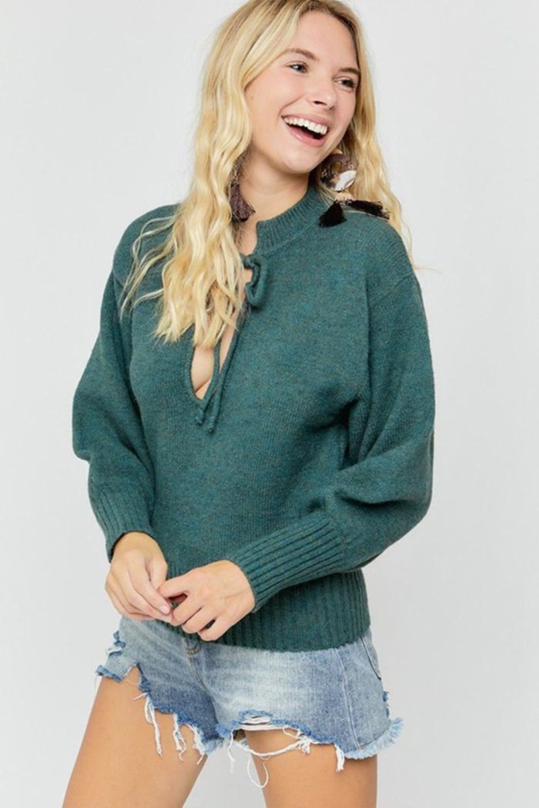 hers and mine Deep V-Neck Sweater - Front Full Image