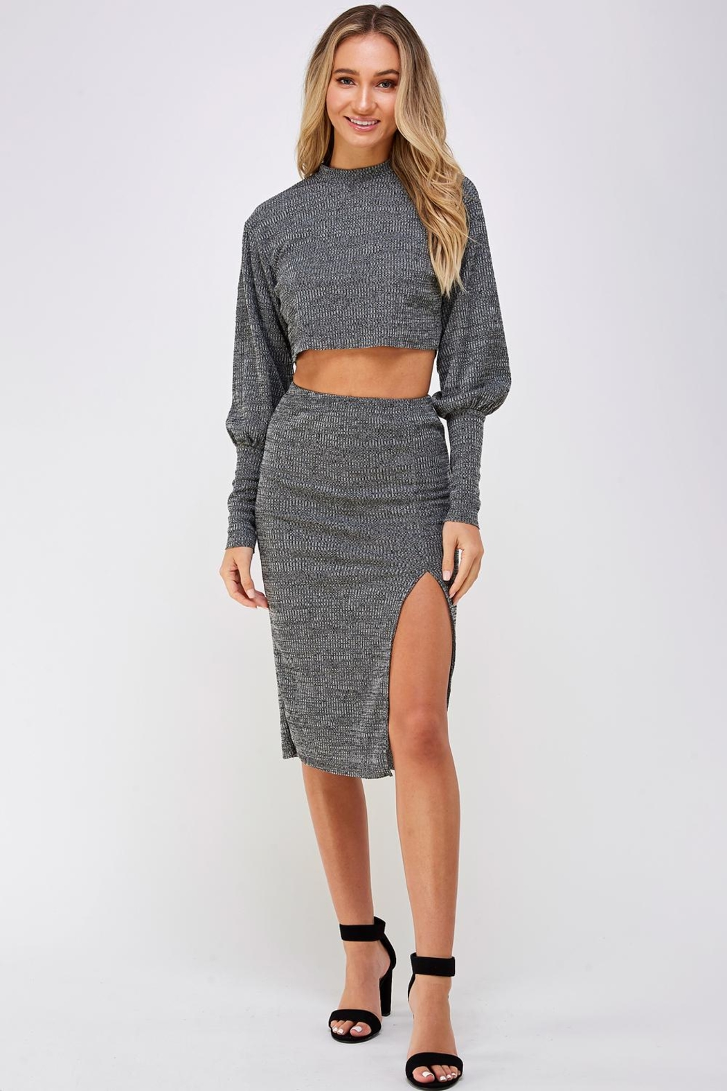 hers and mine Grey Skirt Set - Front Full Image