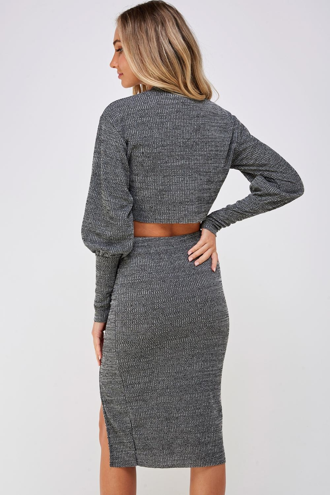 hers and mine Grey Skirt Set - Back Cropped Image
