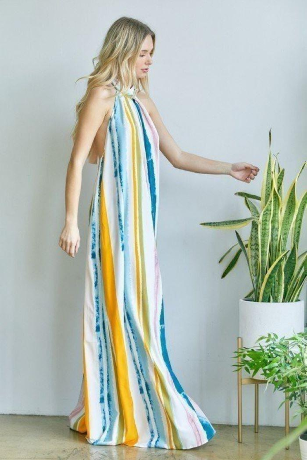 hers and mine Halter Neck Tie Back Jumpsuit - Front Full Image