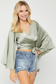 hers and mine Kimono-Sleeve Wrap Top - Front cropped