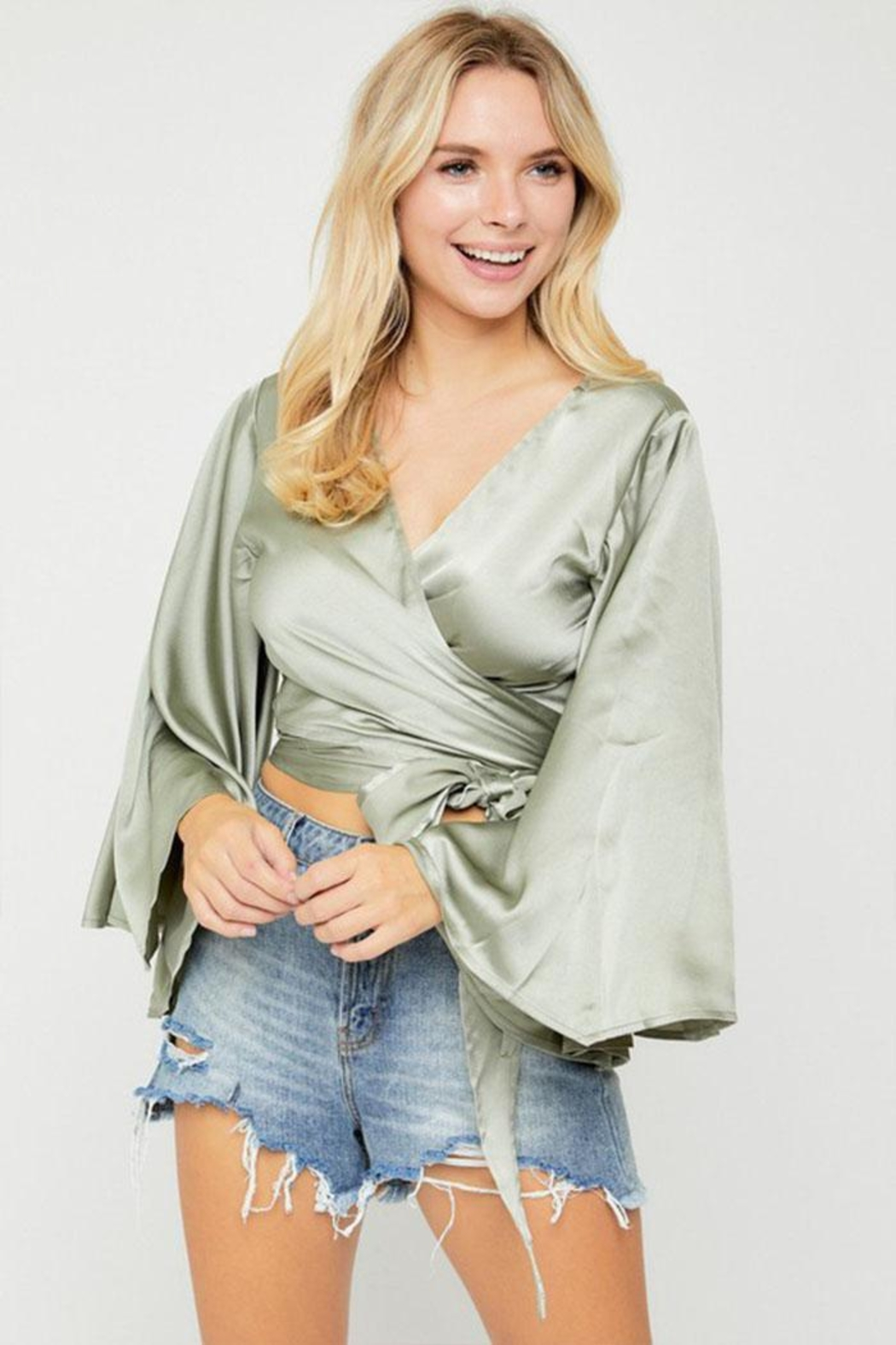 hers and mine Kimono-Sleeve Wrap Top - Side Cropped Image