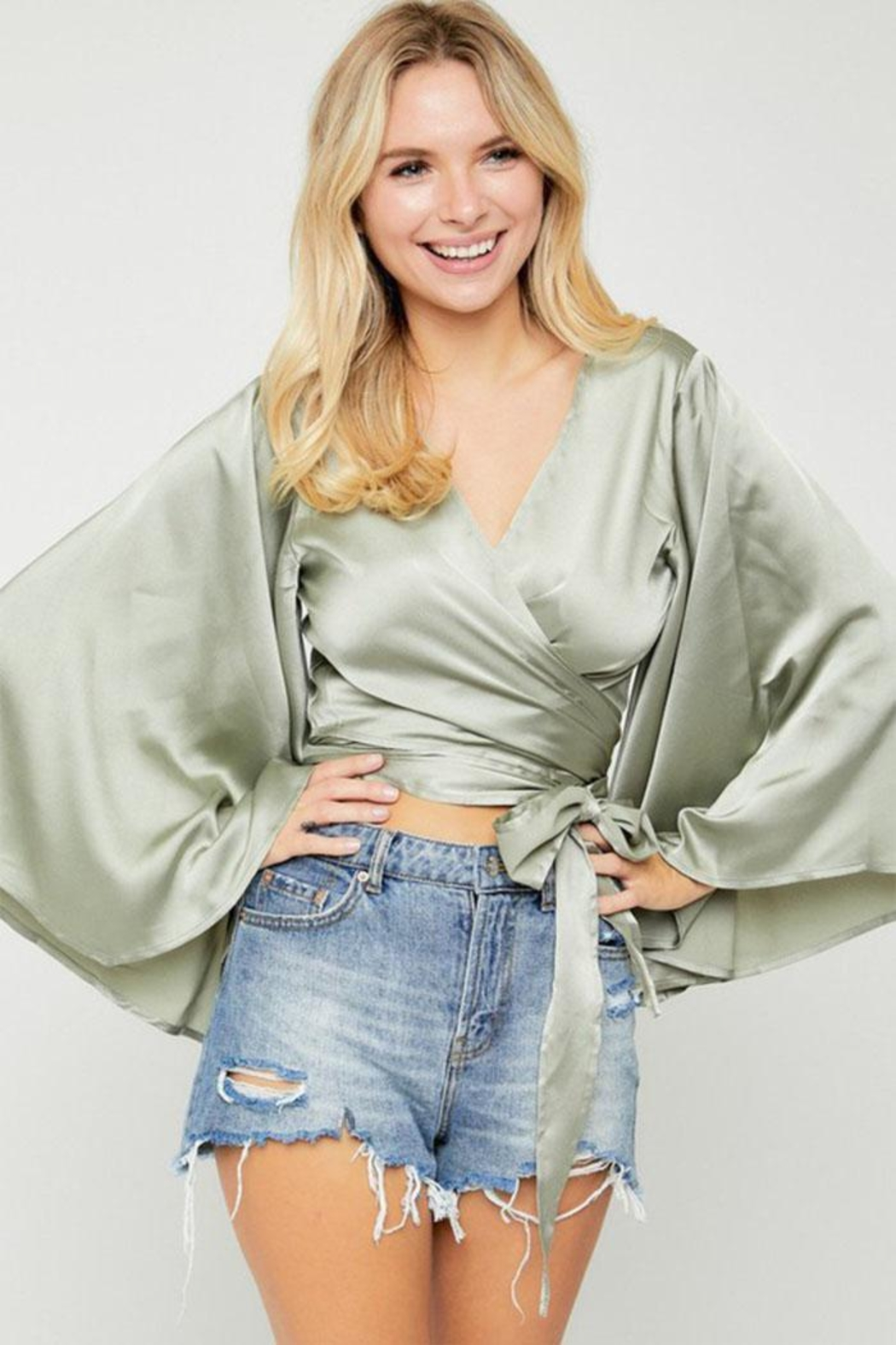 hers and mine Kimono-Sleeve Wrap Top - Front Full Image