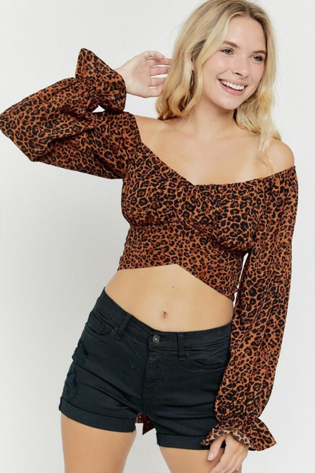 hers and mine Long-Sleeve Leopard Top - Front Full Image