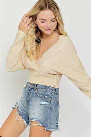 hers and mine Overlap Cropped Sweater - Front cropped