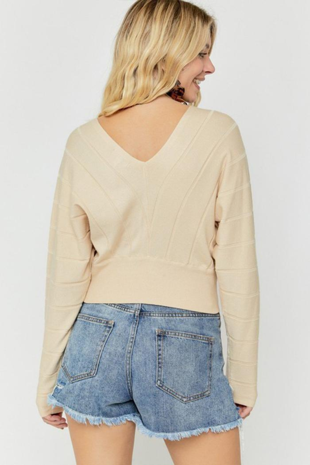hers and mine Overlap Cropped Sweater - Back Cropped Image