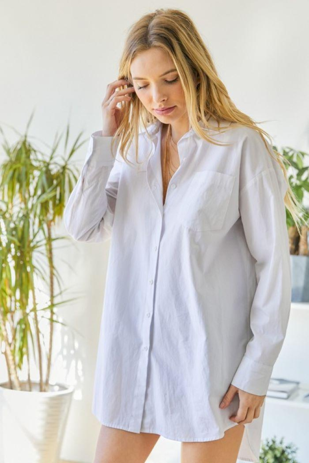 hers and mine Oversized Button Down Shirt - Main Image