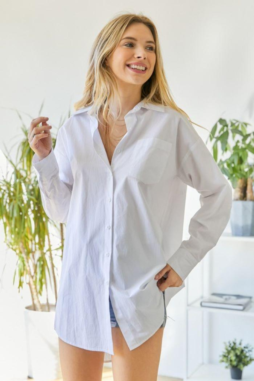hers and mine Oversized Button Down Shirt - Back Cropped Image
