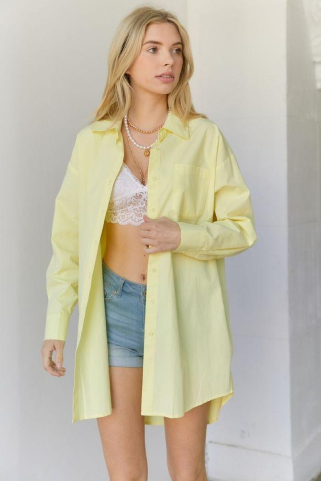 hers and mine Oversized Button Down Shirt - Front Cropped Image