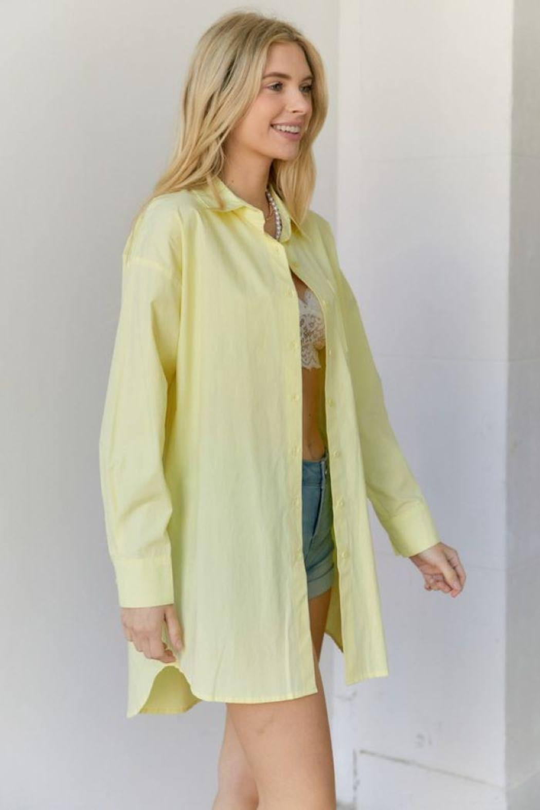 hers and mine Oversized Button Down Shirt - Front Full Image