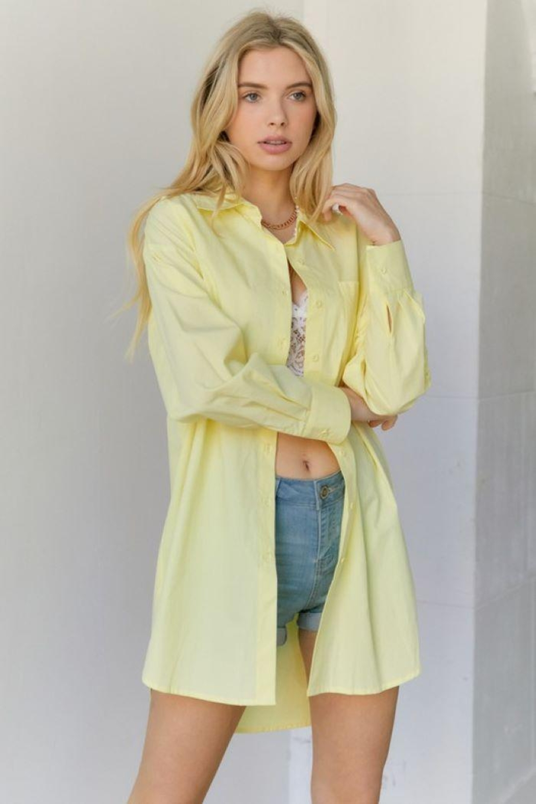 hers and mine Oversized Button Down Shirt - Side Cropped Image