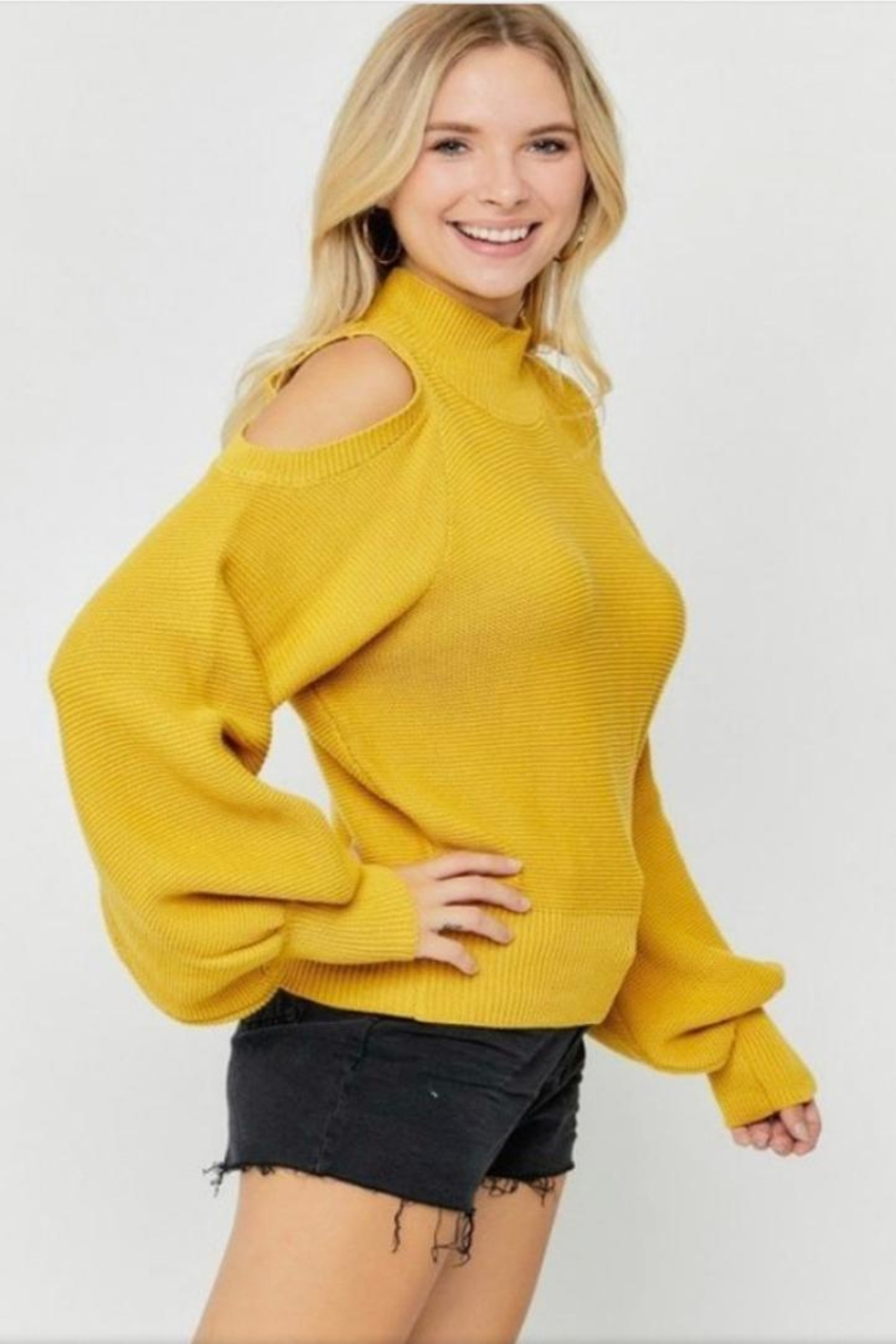 hers and mine Puff Sleeve Sweater - Front Full Image