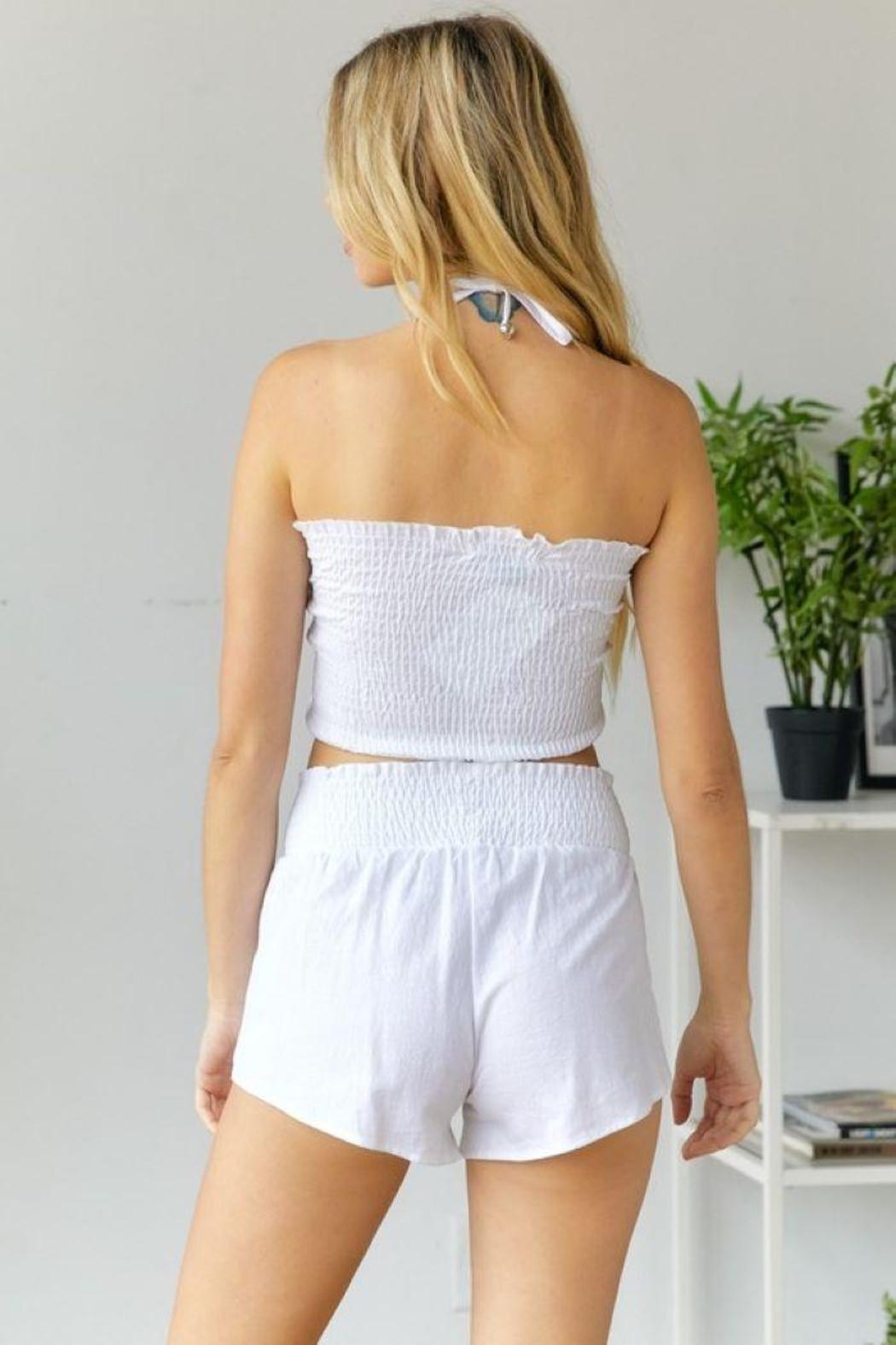 hers and mine Smock Top Short Set - Front Full Image