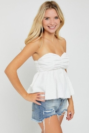 hers and mine Strapless Peplum Top - Front full body