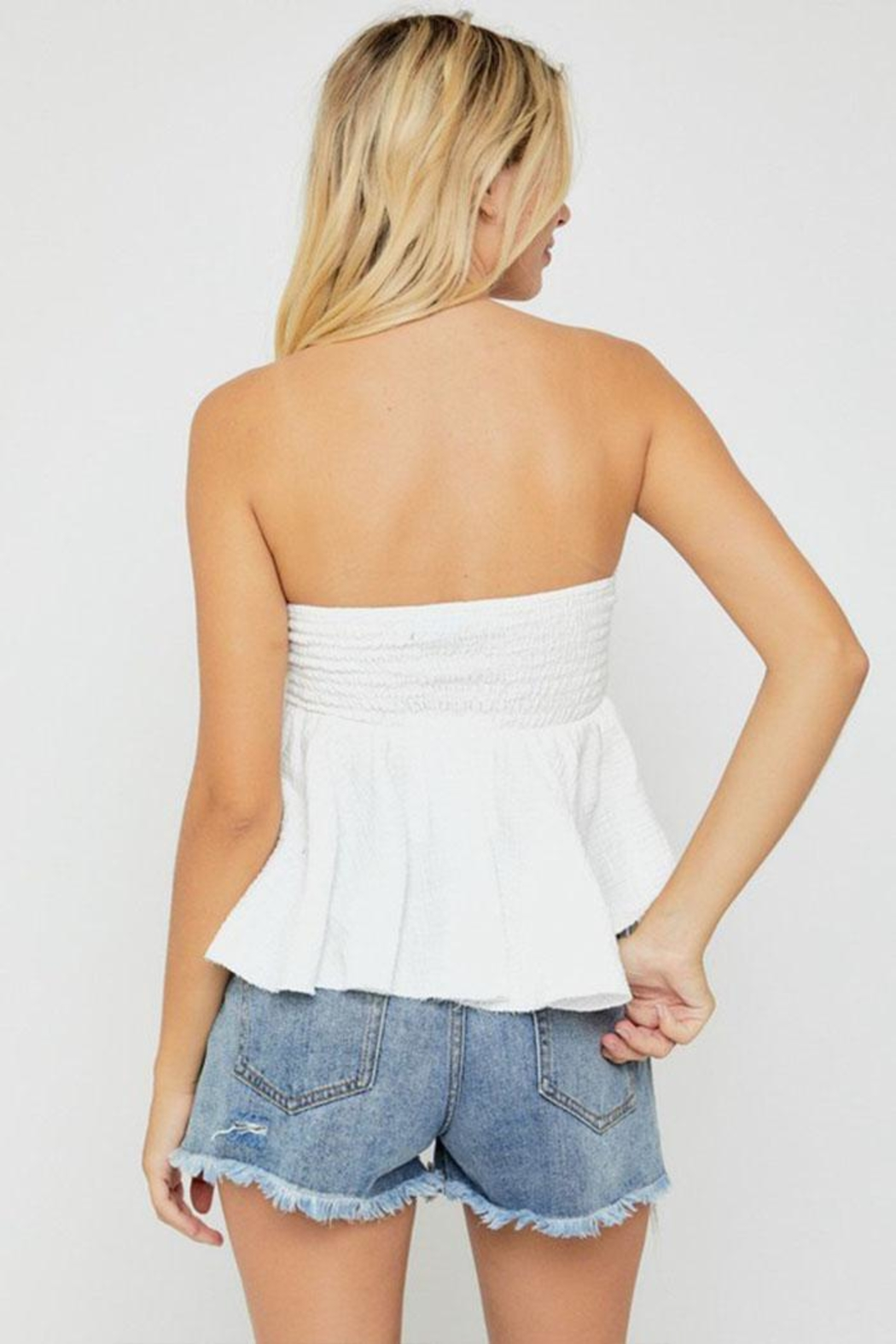 hers and mine Strapless Peplum Top - Back Cropped Image