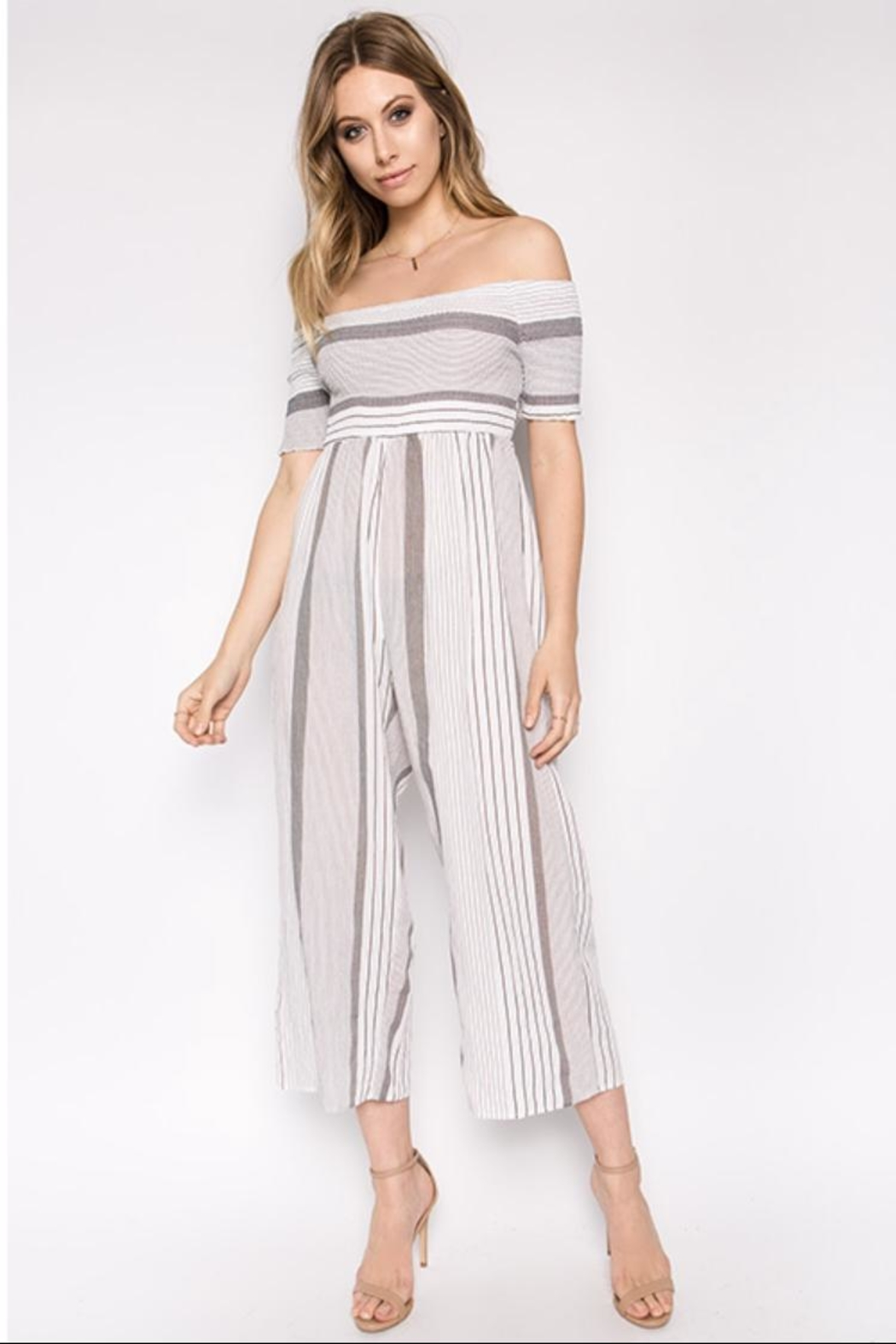 hers and mine Striped Off-Shoulder Jumpsuit - Main Image