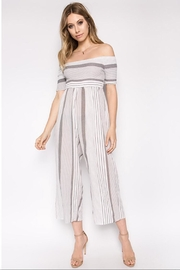 hers and mine Striped Off-Shoulder Jumpsuit - Front cropped