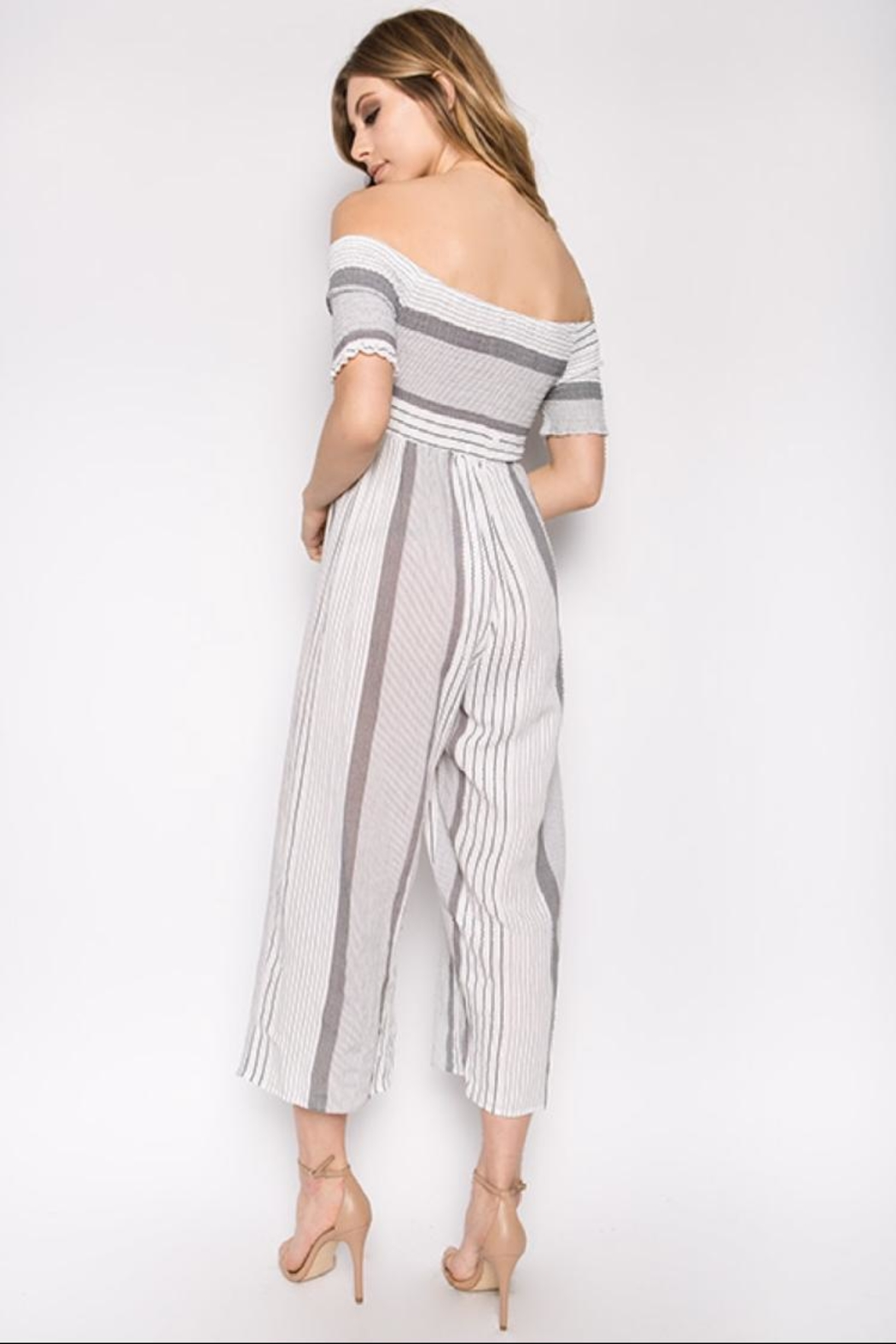 hers and mine Striped Off-Shoulder Jumpsuit - Front Full Image