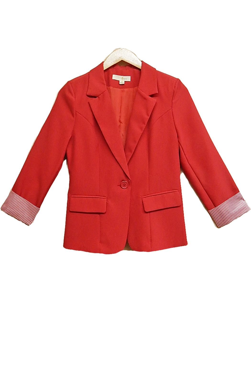 Hesperus Red Stripe-Cuff Jacket - Front Cropped Image