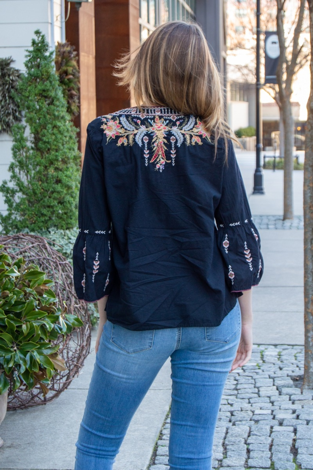 Johnny Was Hevea Flare Sleeve Embroidered Top - Front Full Image