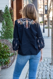 Johnny Was Hevea Flare Sleeve Embroidered Top - Front full body
