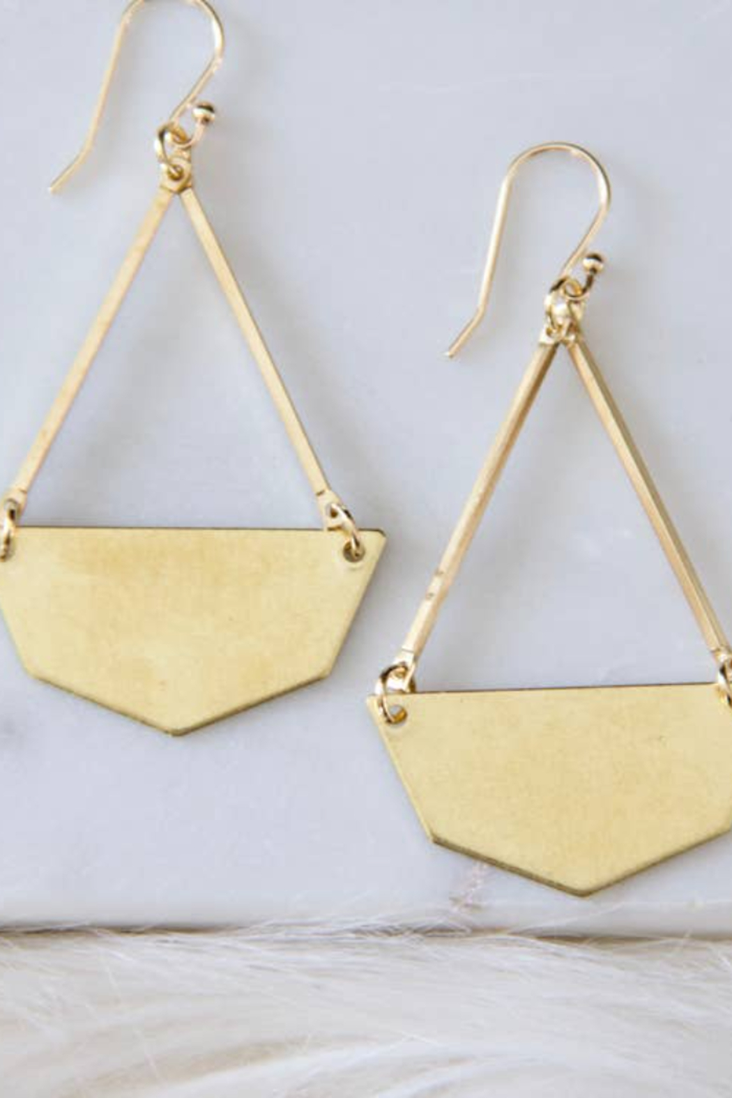 Mesa Blue Hexagon Brass Earrings - Front Cropped Image