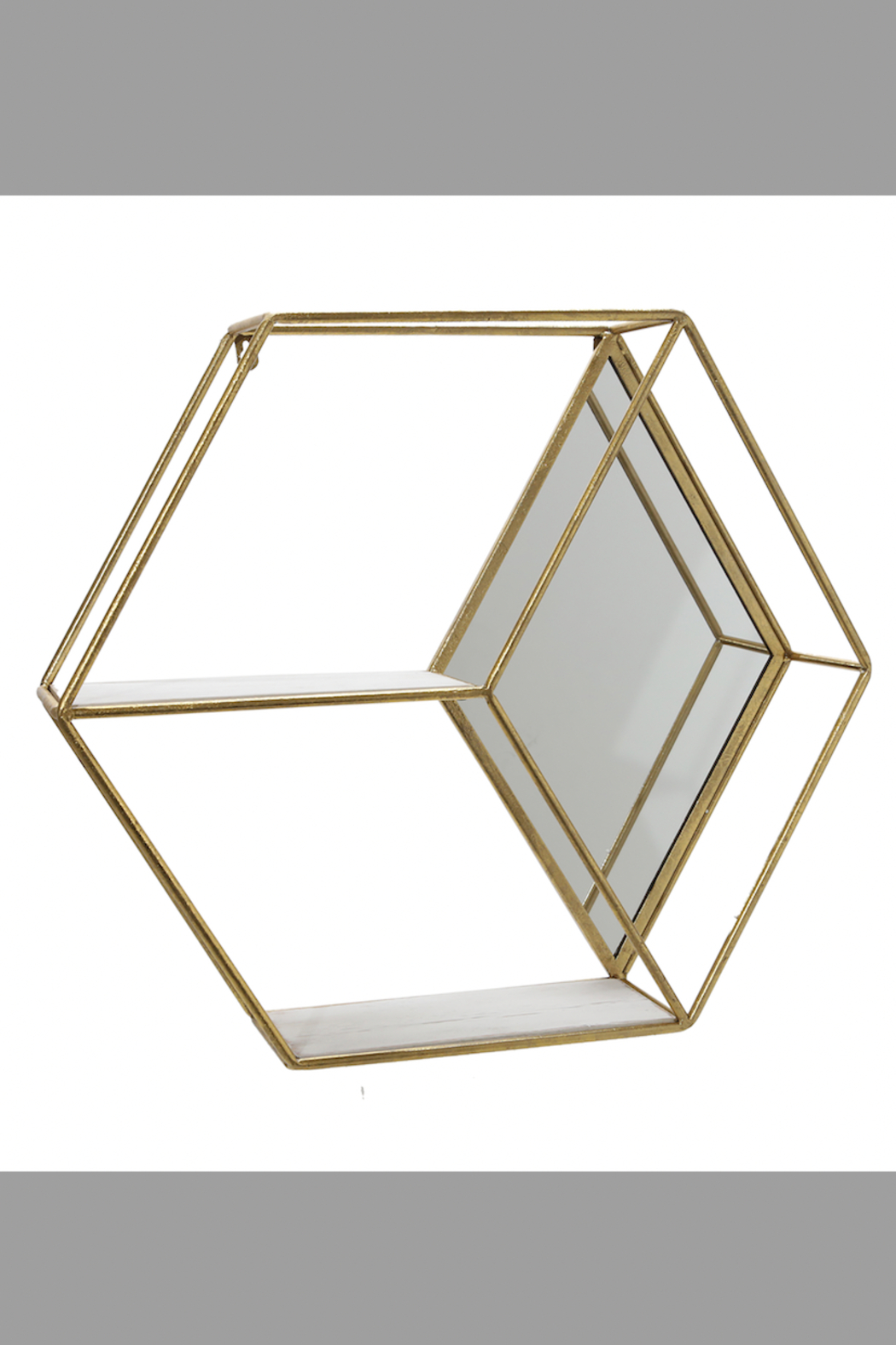 Sagebrook Home HEXAGON MIRROR & SHELF - Front Cropped Image