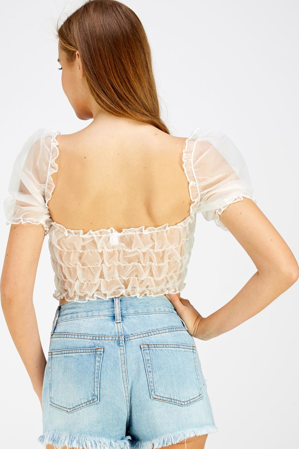 Hey Babe Organza Sleeve Top - Back Cropped Image