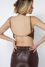 Hey Babe Woven Satin Chain Back Scarf Crop Top - Front full body