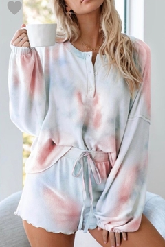 Shoptiques Product: Tie Dye Long Sleeve & Shorts Lounge Set