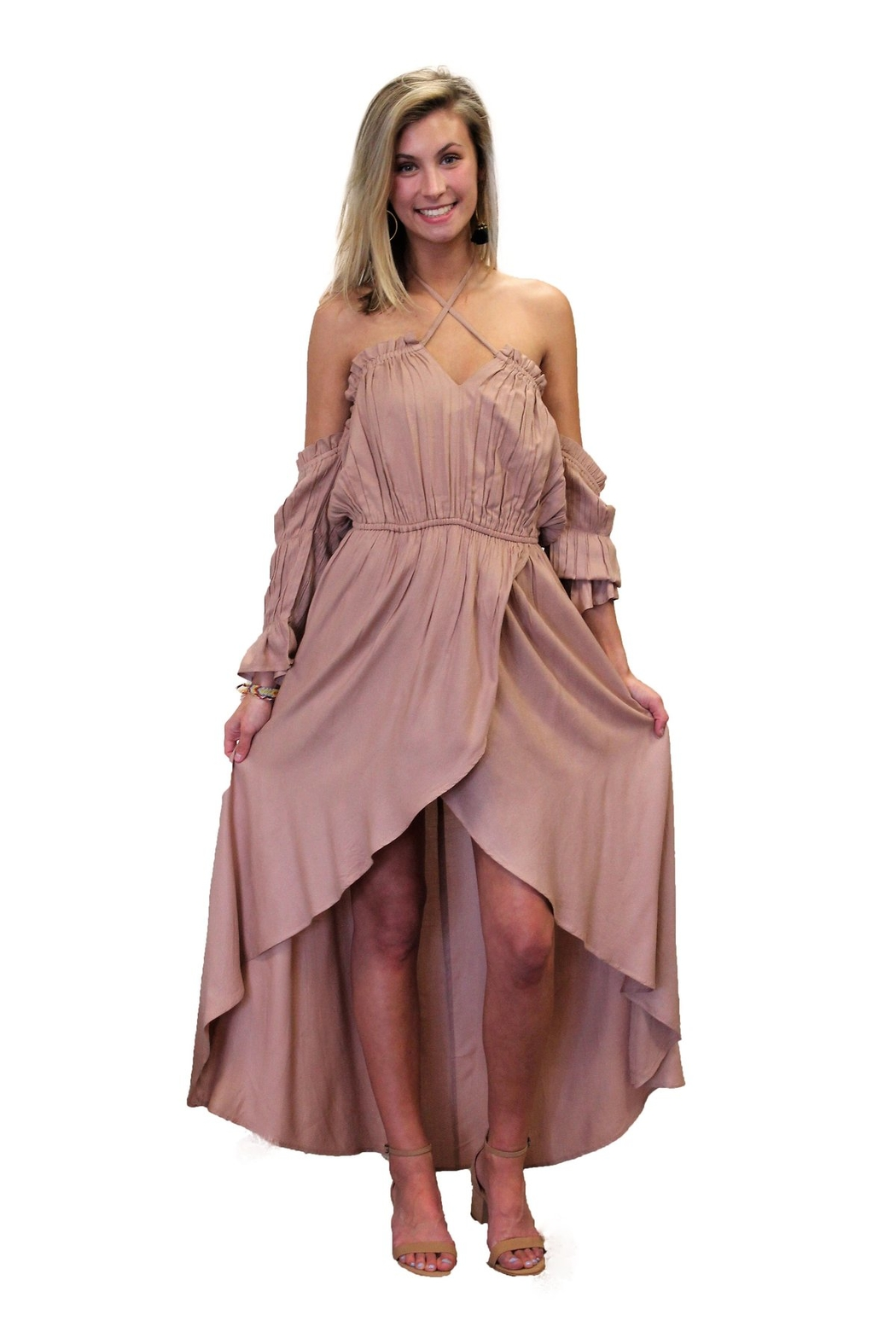 Elan Hi-Lo Off The sholder Shorts Maxi Dress - Front Cropped Image
