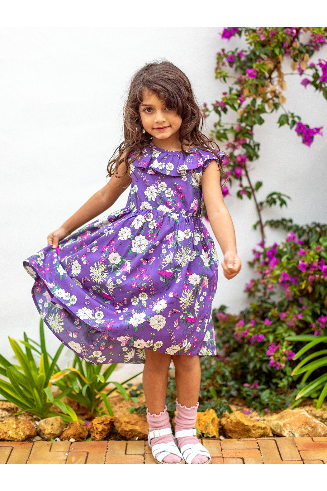 Tea Collection  Hi-Lo Ruffle Neck Dress - Sintra Floral - Front Full Image